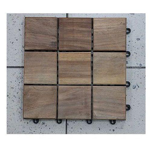 Deski tarasowe modułowe płytki 30x30cm teak surowy klepka kwadrat (deska tarasowa)