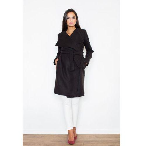 Czarny Elegancki Płaszcz Oversize Przewiązany Paskiem, w 4 rozmiarach