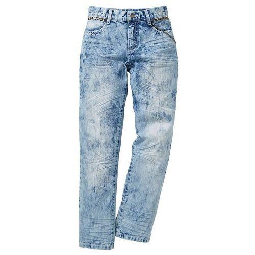Dżinsy Regular Fit z ćwiekami i łańcuszkiem bonprix niebieski