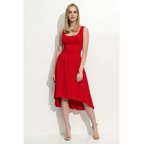 Czerwona sukienka asymetryczna na szerokich ramiączkach marki Makadamia