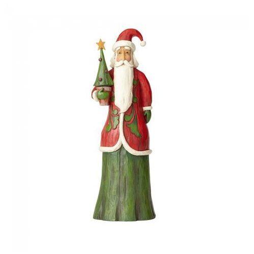 Mikołaj z choinką w stylu folk Folklore Tall Santa With Tree 4058764 Jim Shore figurka ozdoba świąteczna