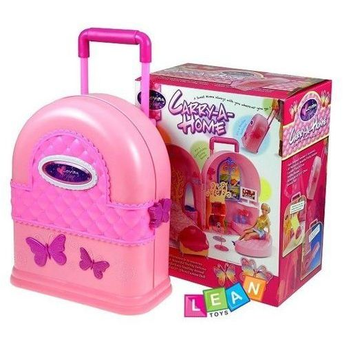 Rozkładany domek dla lalek walizka + meble, LeanToys z SELKAR