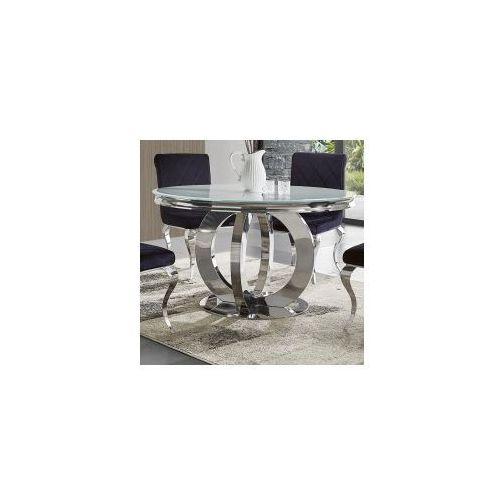 Stół glamour Dallas II okrągły - stal blat szklany