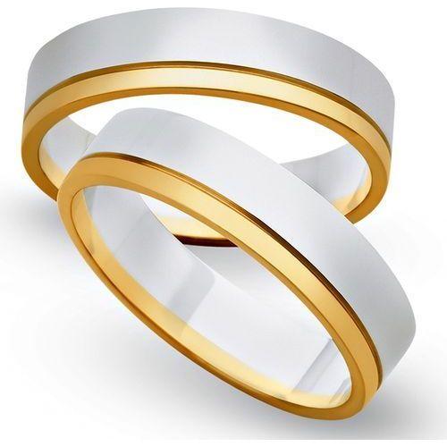 Obrączki z żółtego i białego złota 5mm - O2K/110 - produkt dostępny w Świat Złota