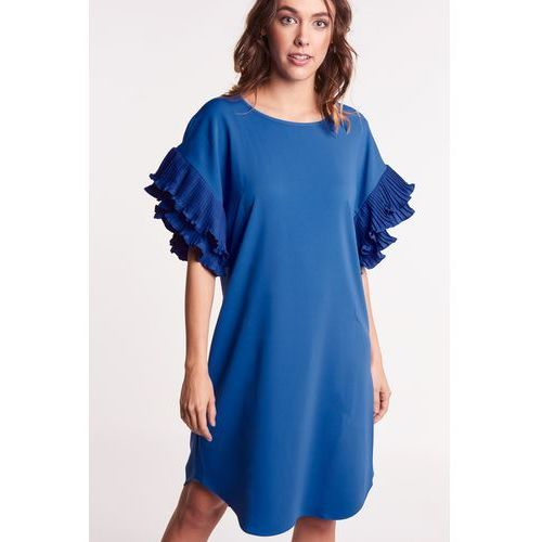 1b6f1cb8b0 Niebieska sukienka z falbankami na rękawach