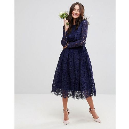 ASOS WEDDING Ruched Mesh Bardot Maxi Dress - Navy, kolor niebieski