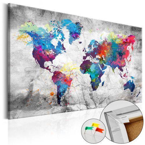 Artgeist Obraz na korku - mapa świata: szary styl [mapa korkowa]