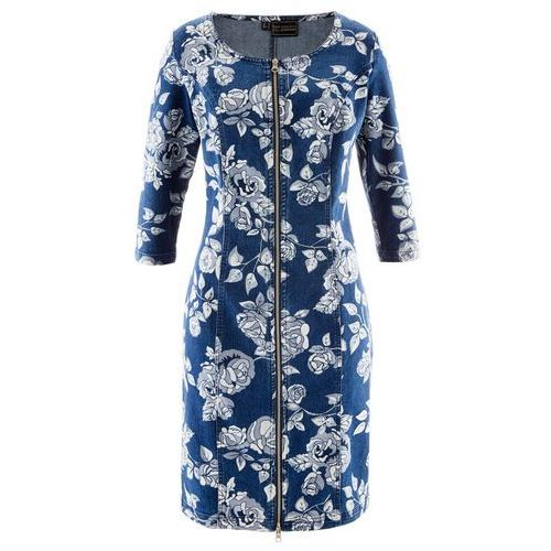 Sukienka dżinsowa premium niebieski dżins z nadrukiem, Bonprix, 36-54