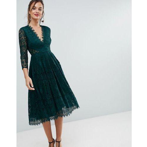 long sleeve lace midi prom dress - green marki Asos