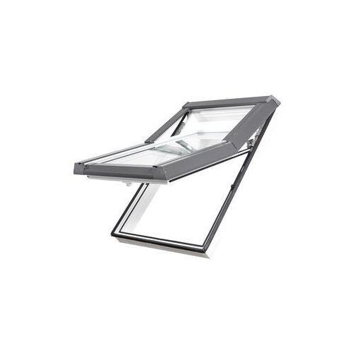 Okno dachowe DOBROPLAST Skylight Premium 55x118 złoty dąb PVC oblachowanie szare (5902581609052)