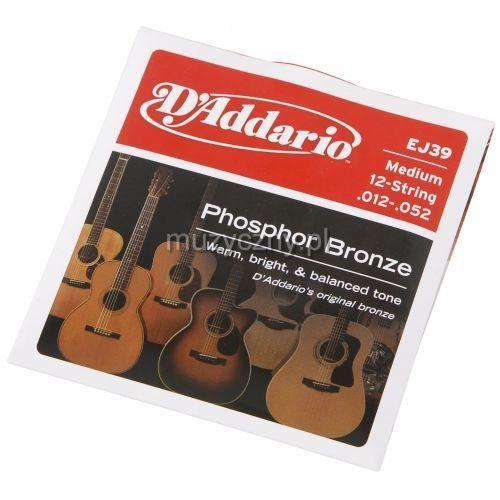 ej39 struny do gitary akustycznej 12-strunowej phosphor bronze, medium, 12-52 marki D′addario