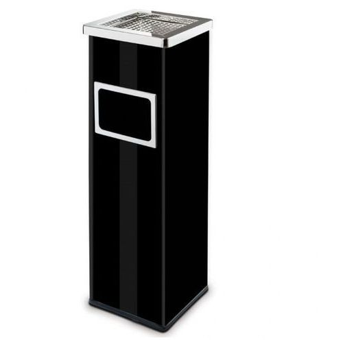 Kosz na śmieci z popielniczką i wewnętrznym pojemnikiem, 22l, lakierowany czarny marki Alda