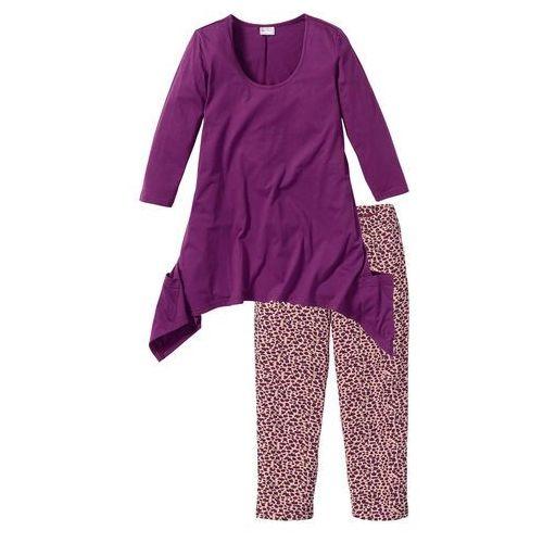 Piżama ze spodniami 3/4 i shirtem z dłuższymi bokami bonprix fiołkowy z nadrukiem