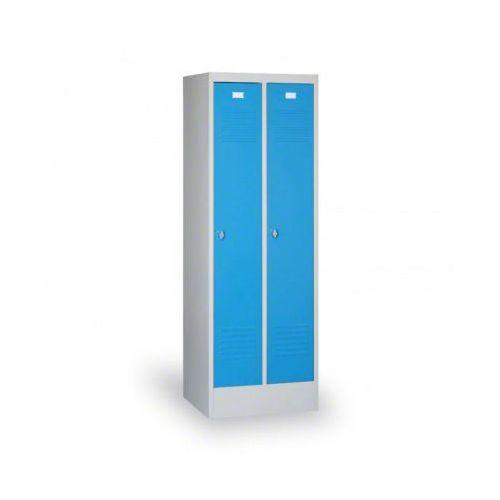 B2b partner Szafka ubraniowa ekonomik, niebieskie drzwi, zamek cylindryczny