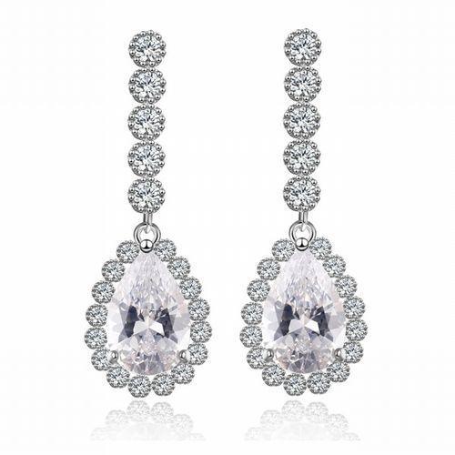 Mak-biżuteria Kol 599/544 kolczyki ślubne, cyrkonie długie piękne
