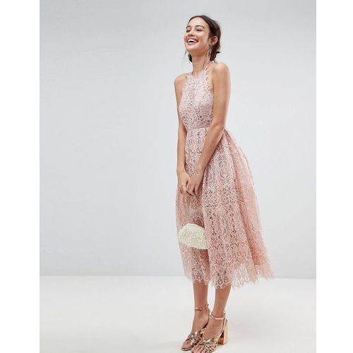 Asos lace pinny scallop edge midi prom dress - pink, Asos design