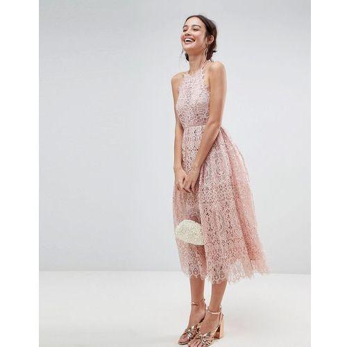 ASOS Lace Pinny Scallop Edge Midi Prom Dress - Pink, kolor różowy