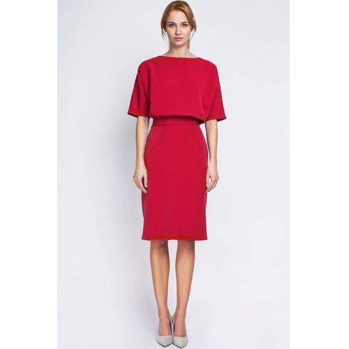 291f1c38e4 Lanti Czerwona wizytowa sukienka dzianinowa z rękawem 1 2 149