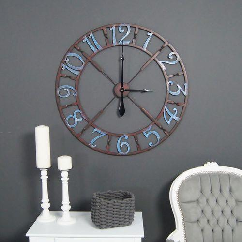 Metalowy zegar ścienny, styl rustykalny. marki Design by impresje24