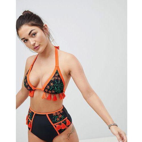 ASOS FULLER BUST Premium Contrast Tassel Embroidered Triangle Bikini Top DD-G - Black, kolor czarny
