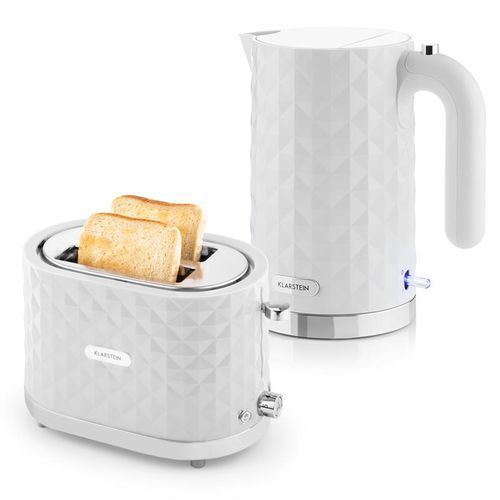 Klarstein granada bianca zestaw śniadaniowy  czajnik elektryczny 2000 w toster 1000 w   kolor biały