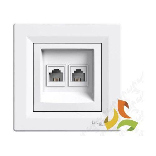 ASFORA Gniazdo telefoniczne 2 podwójne 2xRJ11 białe z ramką EPH4200121 SCHNEIDER
