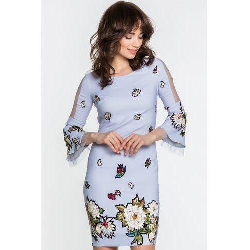 Bladoniebieska sukienka w kwiaty - Margo Collection