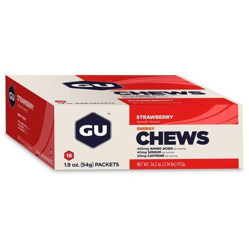 GU Energy Chews Żywność dla sportowców truskawka z kofeiną 24 x 54g beżowy/czerwony 2018 Cukierki i gumy