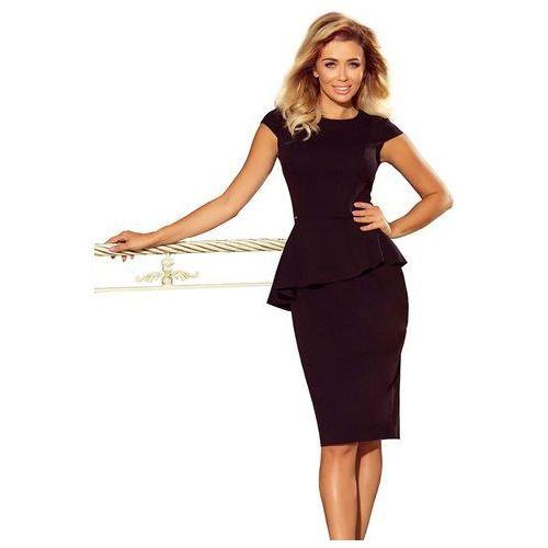 7d5a5ad530 Czarna Elegancka Ołówkowa Sukienka Midi z Asymetryczną Baskinką