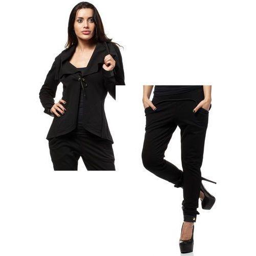 Zestaw Żakiet z dzianiny dresowej oraz spodnie czarne, garsonka, kostium Moe