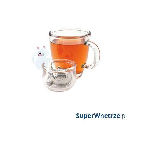 Msc international Zaparzaczka do herbaty z miseczką kot biała