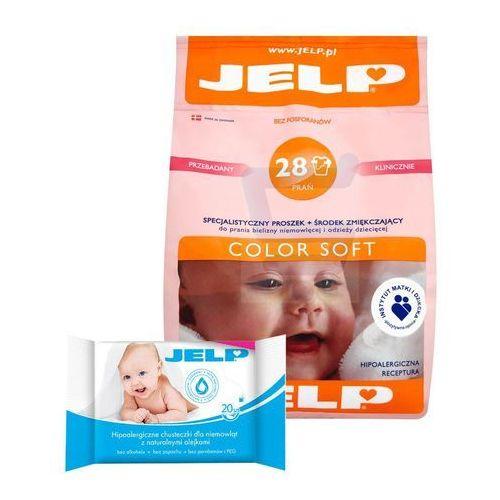 JELP Proszek do Prania 2.24 kg - 28 prań Color Soft + Chusteczki 20 szt dla Niemowląt (proszek do prania ubrań)