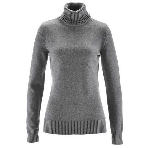 Sweter z golfem bonprix szary melanż, z