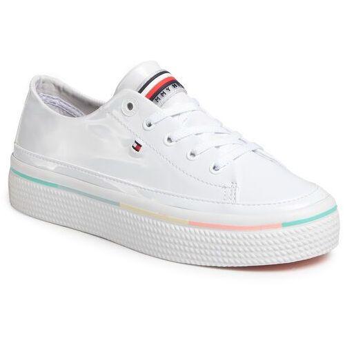 Tommy hilfiger Tenisówki - striped platform sneaker fw0fw04710 white ybs