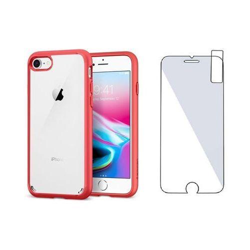 Zestaw   spigen sgp ultra hybrid 2 red   obudowa + szkło ochronne perfect glass dla modelu apple iphone 7 / 8 marki Sgp - spigen / perfect glass