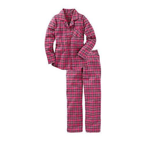 Piżama flanelowa różowy w kratę marki Bonprix