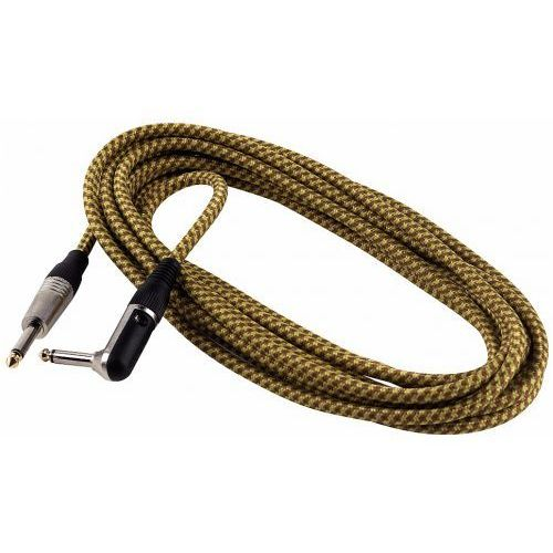 RockCable kabel instrumentalny - angled TS (6.3 mm / 1/4), braided cloth mantle, gold - 6 m / 19.7 ft.