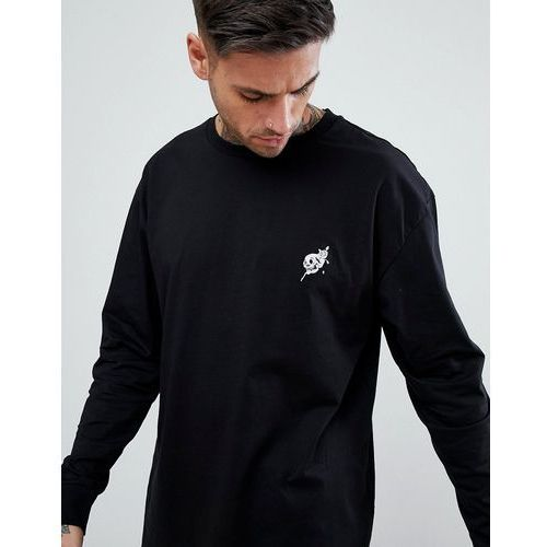 New Look Long Sleeve T-Shirt With Skull Embroidery In Black - Black