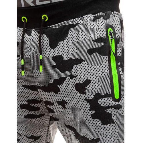 Spodnie męskie dresowe joggery moro-szare Denley KK512