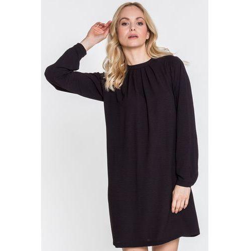 6c317a8784 Czarna sukienka z długim rękawem zakończonym mankietem Avion - Tova 319