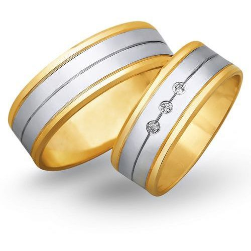 Obrączki z żółtego i białego złota 7mm - O2K/062 - produkt dostępny w Świat Złota