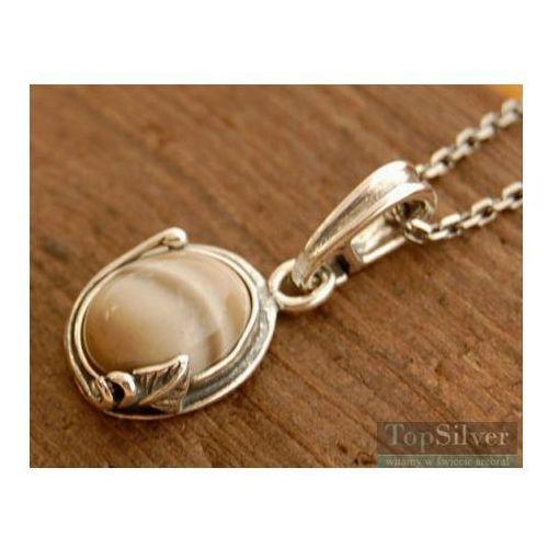 ARCO - srebrny wisiorek z krzemieniem pasiastym, kolor szary