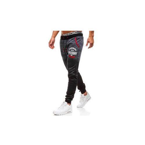 Spodnie męskie dresowe joggery granatowe Denley KK511, kolor niebieski