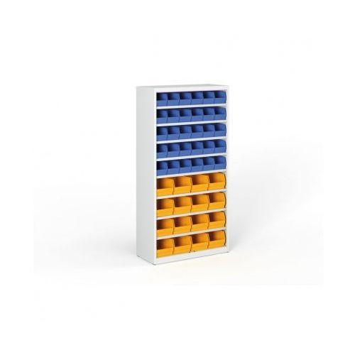 Regał z plastikowymi pojemnikami - 1800x920x400 mm, 30x B, 16x C