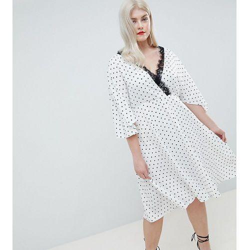 Asos design curve spot lace trim kimono midi dress - white marki Asos curve
