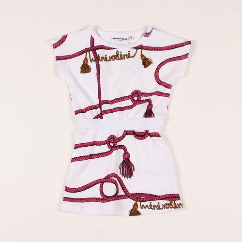 MINI RODINI Sukienka Rope biała w różowe liny żeglarskie (sukienka dziecięca)