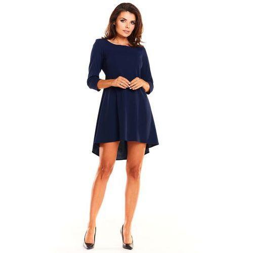 0f4c09d838 Granatowa koktajlowa asymetryczna sukienka z kontrą marki Awama 128