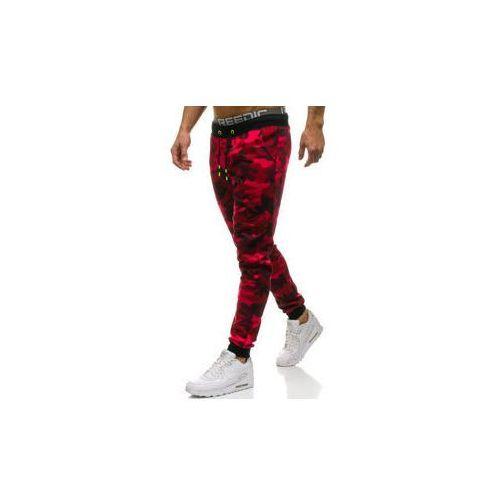J.style Spodnie męskie dresowe joggery moro-czerwone denley kk06