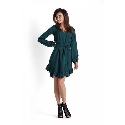 24b3f55a13 Romantyczna zielona zwiewna sukienka z falbankami przewiązana paskiem marki  Ivon 219