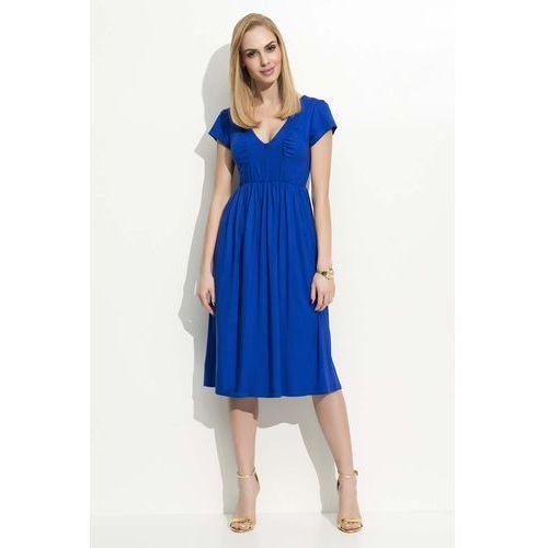 Chabrowa Sukienka Midi z Marszczeniami, kolor niebieski